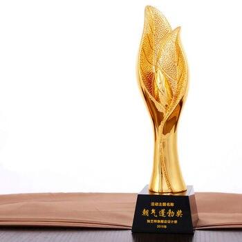 Gorąca wyprzedaż! nowy pozłacany liści roślin kryształowe trofeum statuetka z żywicy high-end kreatywny metalowe trofeum, darmowa wysyłka