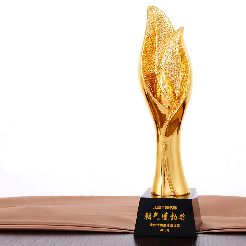 где купить Hot sale!New gilt plant leaves crystal trophy resin trophy high-end creative metal trophy,Free shipping дешево
