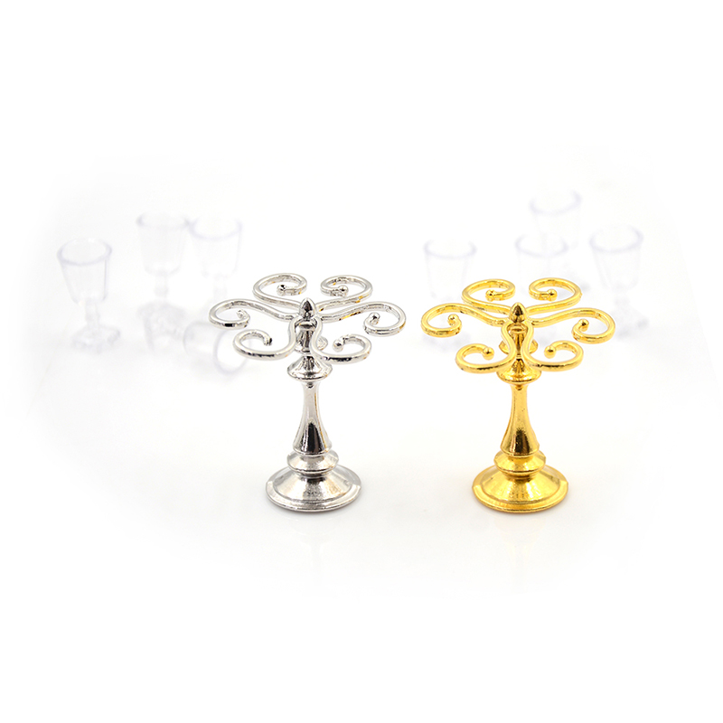1 Set metal cup holder with 4 wine glasses dollhouse miniature accessoriYN