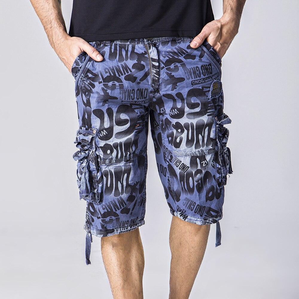 ツ)_/¯Hombres de gran tamaño de algodón de camuflaje cargo shorts