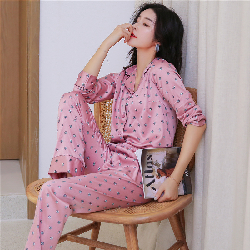 Spring Korean Version Printing Pattern Women   Pajama     Set   Rayon Sleepwear Ice Silk Loungewear Long Sleeve Trousers Two Paper Suit