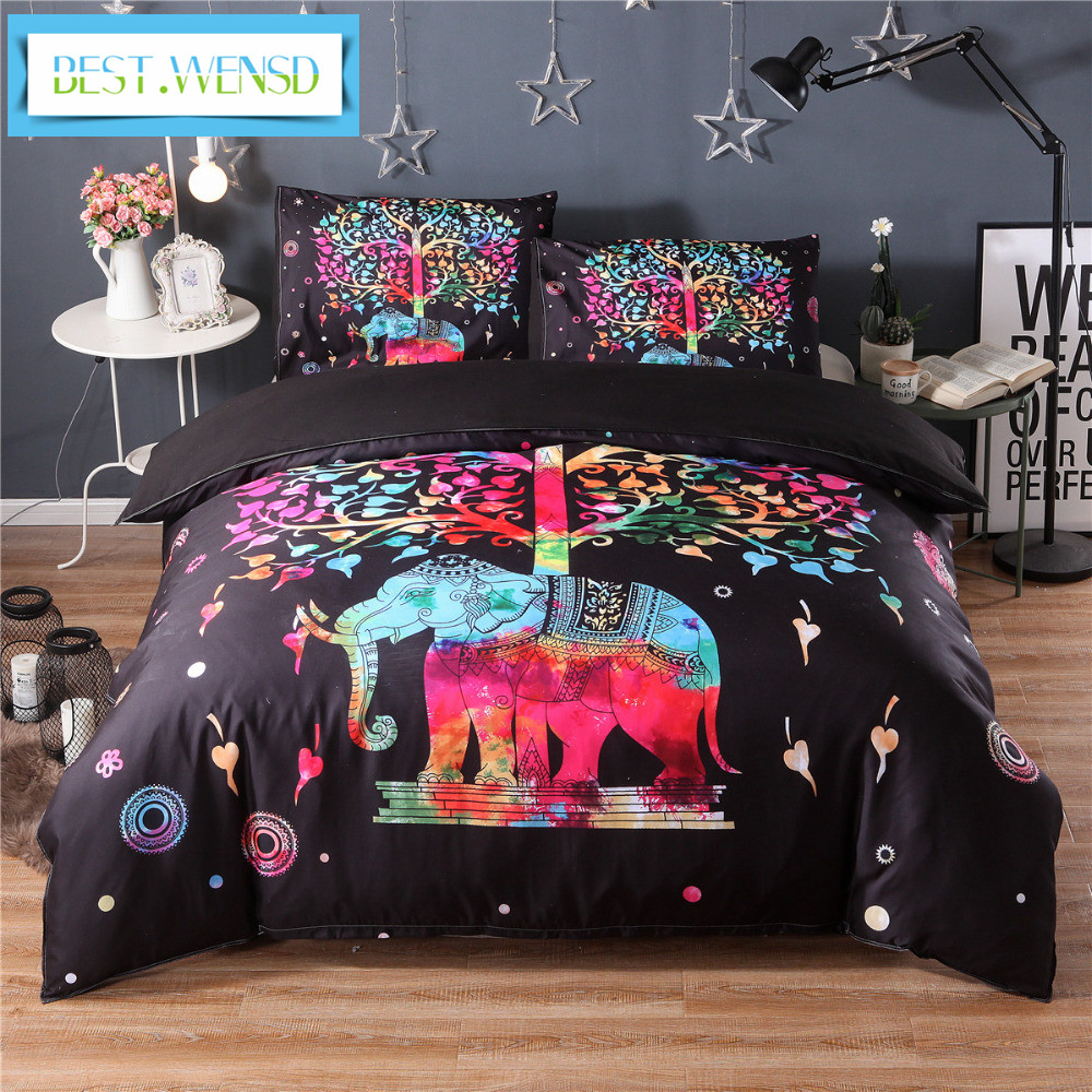 wholesale Black Bedding Set Black and Red Boho Duvet Cover and Pillowcase Indian Style Print Exotic Bedclothes Multi Sizes