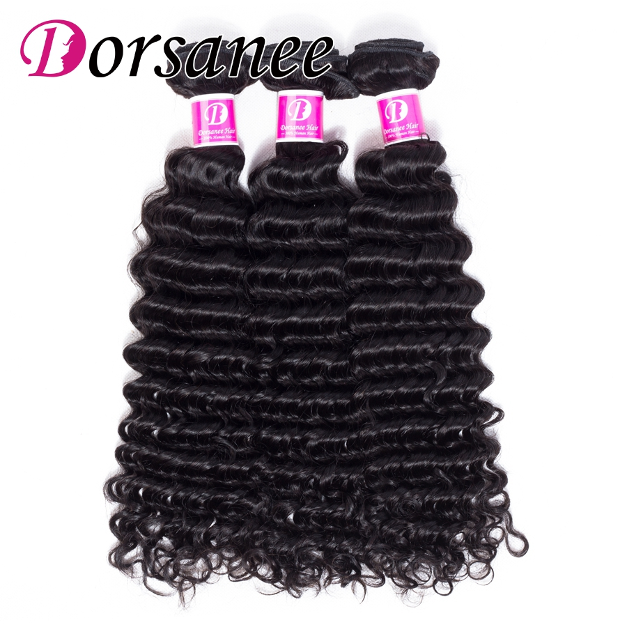 Dorsanee Hair Brazilian Deep Wave 4 Bundles Deal 100% Non Remy Human Hair Extension Weave Natural Hair Black Color Free Shipping