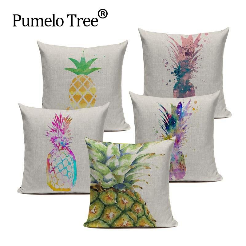 Watercolor Pineapple Cushion Cover Heart Linen Cutton Pillow Cover Decorative for Home Car SofaThrow Pillows Pillowcase Textiles