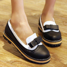 Woman Bullock Carved Sweet Oxfords Flat Shoes New 2015 Ladies Casual Flat Heel Bow Knot Round Toe Slip On Loafer Shoes