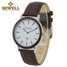 BEWELL Fashion Casual Mens Watches Top Brand Luxury Wood Case Leather Band Quartz-Watch Men Relogio Masculino Wristwatch 1051A