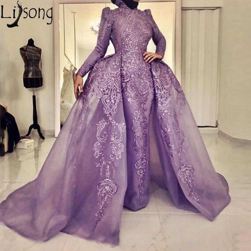 Chic Lavender Muslim   Prom     Dress   Long Sleeve Detachable Overskirt Organza Mermaid Evening   Dress   Lace Appliques Formal Gowns 2019