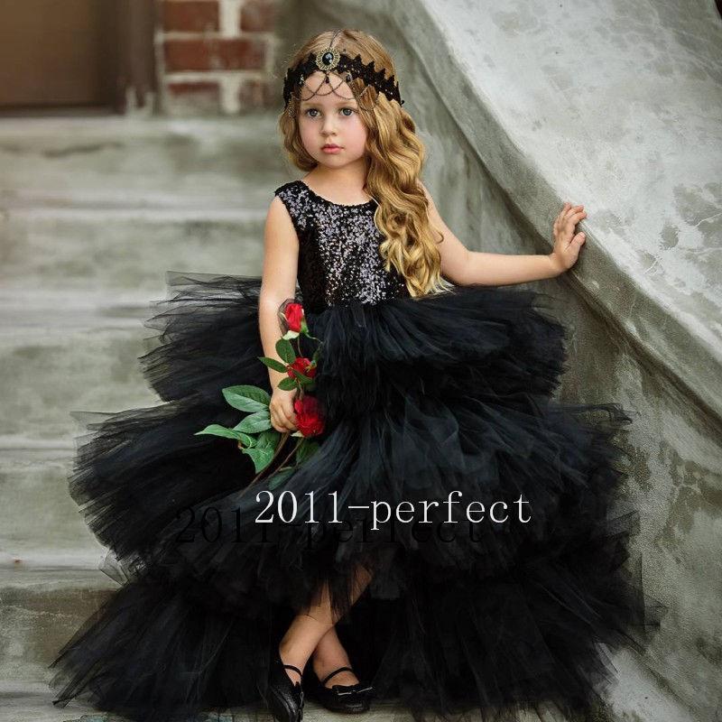 Black Flower Girl Dresses Formal Evening Prom Party Sequin Top Tutu Gowns New Dress вечернее платье backless evening dresses sequin elie saab z2013122702