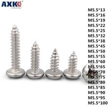 AXK 1pcd 304 нержавеющая сталь сковорода головка/круглая головка саморезы деревянный винт M5.5* 13-100 мм