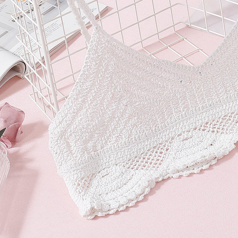 2019 Summer Sexy Backless Women Crop Top Camisole Knitted Crochet Solid Camis V Neck Spaghetti Strap Tops Bralette Beachwear in Camis from Women 39 s Clothing