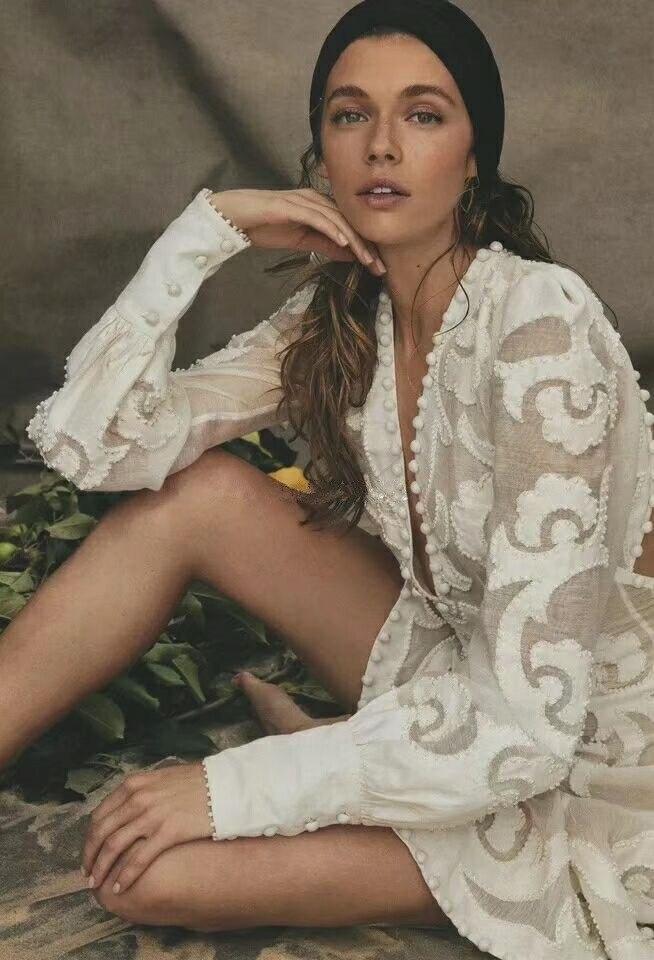 2019 nouvelle mode coton à manches longues dame robe bureau col en v profond femmes automne élégant blanc dos nu fleur clubwear