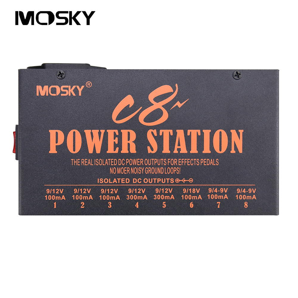 Mosky C8 Power Guitar Effect Pedal Power Supply 8 Isolated Outputs 4-9V 12V 18V Power Highly Filtered and Regulated Short Circu