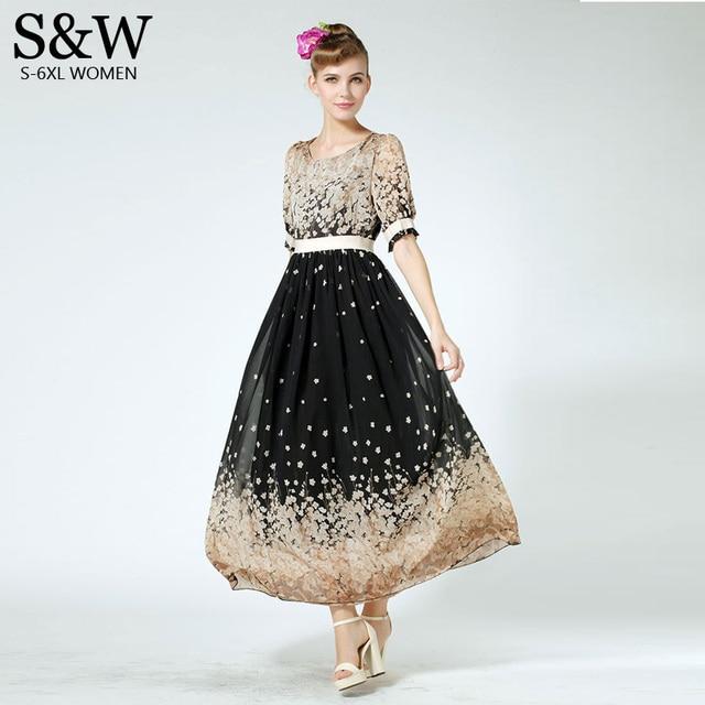 Plus Size XXXL 4XL 5XL 6XL 7XL Women Bohemian Print Floral Chiffon Maxi  Dresses Fashion 2015 Summer Women s Long Chiffon Dress fb2d94f547b5