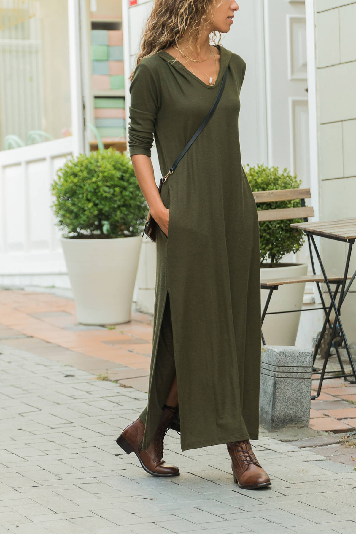bohoan style solid army green split long sleeve hooded woman dresses spring autumn casual loose ankle length female dresses