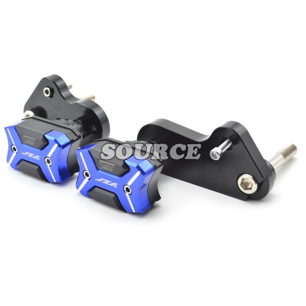 With YZF logo Motorcycle frame slider Frame Crash Protector For Yamaha YZF1000 YZF 1000 R1 2009 2010 2011 2012 2013 2014 aftermarket free shipping motorcycle parts no cut frame slider crash protector for 2004 2011 yamaha fz6 fazer fz6s carbon fiber