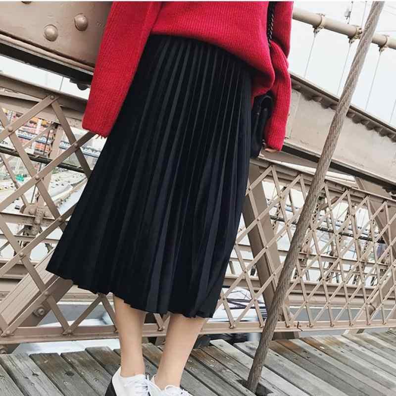 Danjeaner, весна 2019, Женская длинная Плиссированная Юбка Макси цвета металлик, серебро, юбка миди, высокая талия, эластичная повседневная юбка для вечеринок, винтажная