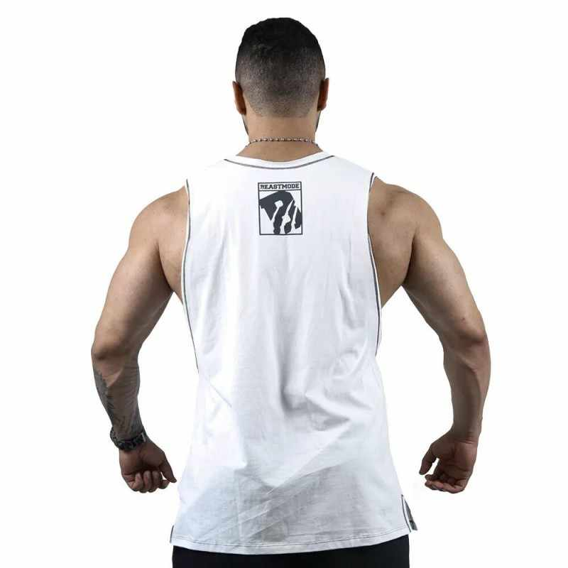 メンズ O ネックタンクトップアンダーシャツボディービルフィットネス男性ジムタンクトッププリントベストストリンガーアンダーシャツ綿