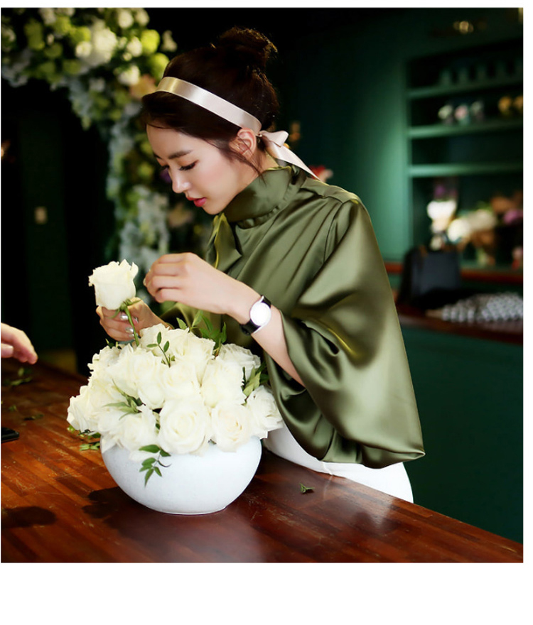 2019 Spring Women Blouse Korean Office Lady White Chiffon Long Lantern Sleeve Bow Shirt Casual Loose Stand Collar Blouse (7)