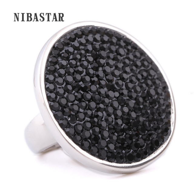 Fashion Black Crystal Wedding Rings Stainless Steel Part Ring Women Jewelry