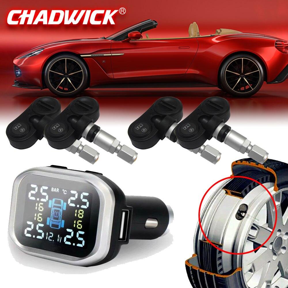 LCD Wireless Smart Car TPMS 12V Digital Tire Pressure Monitoring System Tire Pressure car Alarm Internal Sensor CHADWICK 720N-in Tire Pressure Alarm from Automobiles & Motorcycles