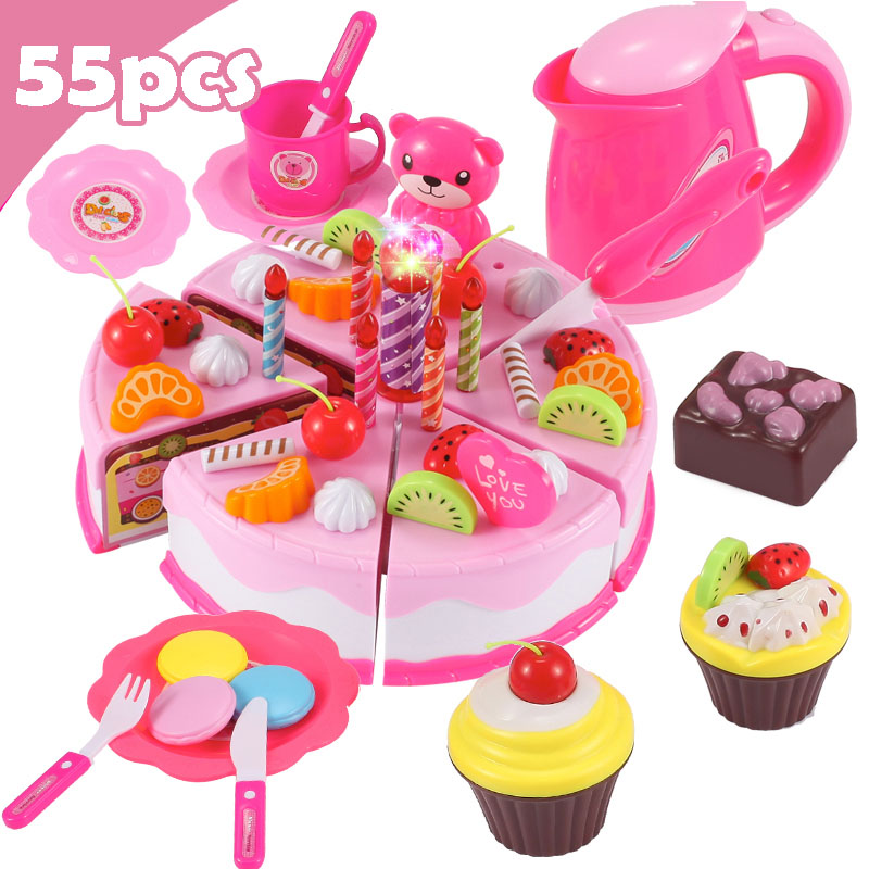 Children DIY Pretend Play Fruits Cutting Birthday Cake Kitchen Food Toys Cocina De Juguete Toy Colorful Girls Birthday Gift Kids in Kitchen Toys from Toys Hobbies