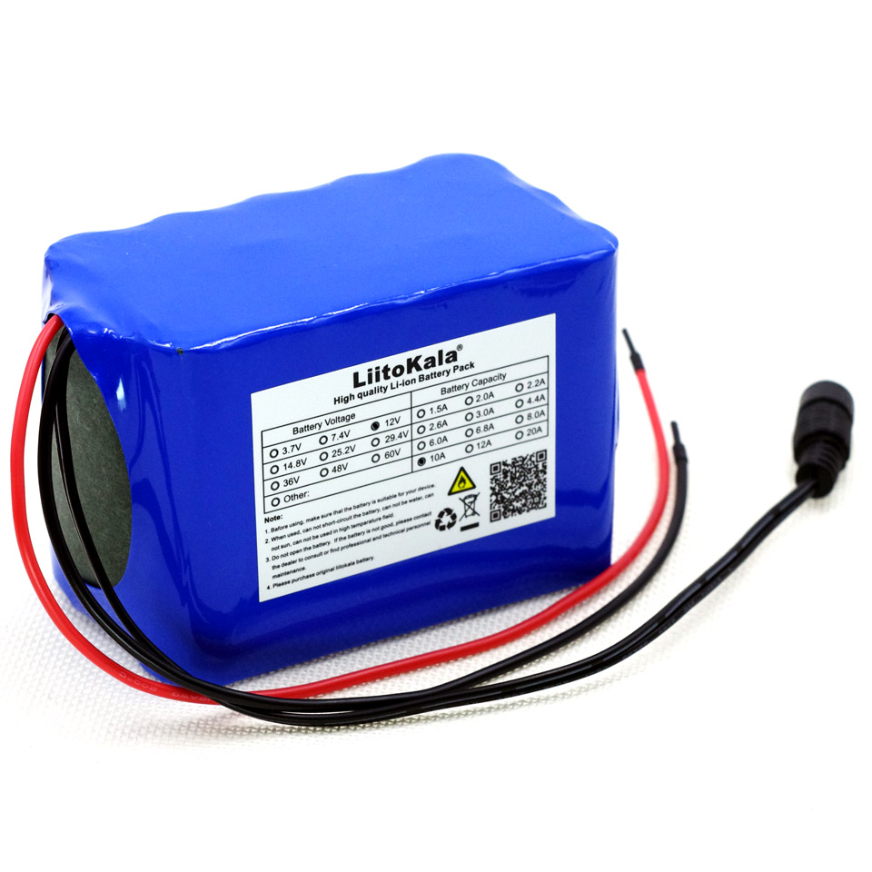 Liitokala 12 V <font><b>10ah</b></font> Protection Large capacity 18650 <font><b>lithium</b></font> Rechargeable <font><b>battery</b></font> 12.6v 10000 mAh LED light <font><b>batteries</b></font> image