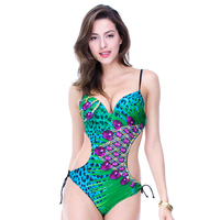 Foclassy new sexy women swimsuit with bandage green bodysuit sportswear girl swimming suit triangle monokini one piece 16018