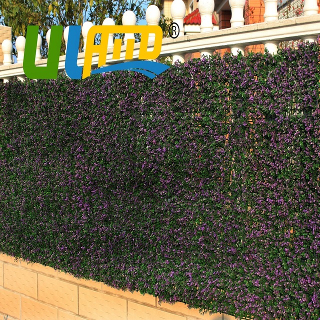 Uland 1 Sqm Plastic Plants Leaves Panels Garden Fence Artificial Boxwood Hedge Mat Indoor Wall Cover