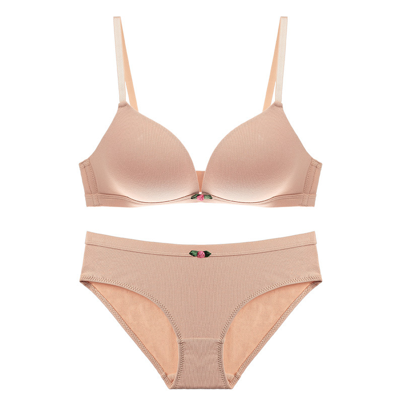 CINOON Lady Solid color bow bra set Underwear 3/4 cup push up brassiere Seamless bra and panty set Comfortable lingerie bralette