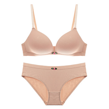 CINOON 2017 Famous Brand Sexy High Quality Women Solid Bra set Big size Underwear Bow Bra and Comfortable Panty set brassiere