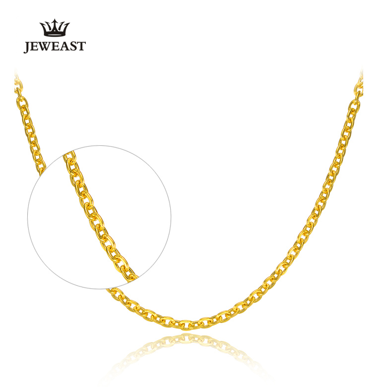 HMSS 24K Reinem Gold Halskette Kreuz Kette O Form Wort Allgleiches Weibliche Worte Schlüsselbein Feine Schmuck Solid Gold gehobenen Halsketten-in Halsketten aus Schmuck und Accessoires bei  Gruppe 2