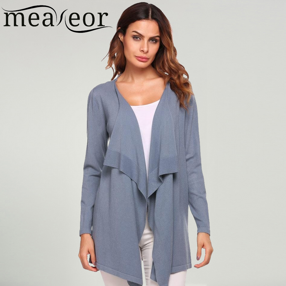 Meaneor Women Cardigans Tops Long-Sleeve Autumn Winter Open Casual Solid Tulle Asymmetrical