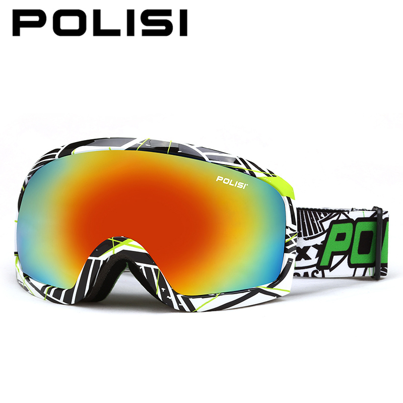 ФОТО POLISI Snowboard Ski Goggles Winter UV Protection Windproof Skiing Eyewear Double Layer Anti-Fog Lens Outdoor Snow Skate Glasses