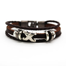 все цены на Ourania 2019 new style vintage stainless steel bracelet black/coffee Hand-knitted leather bracelet men's gift Free shipping онлайн