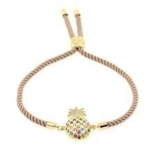2019 Fashion bracelets Womens Sparkly Gold Pineapple Bracelet Adjustable Charm Rope Bracelets for Women Rhinestone