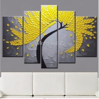 100% Hand Painted Modern Gustav Klimt Tree Of Life Abstract Oil Painting On Canvas Picture 5 Panel Wall Art Home Decoration Set