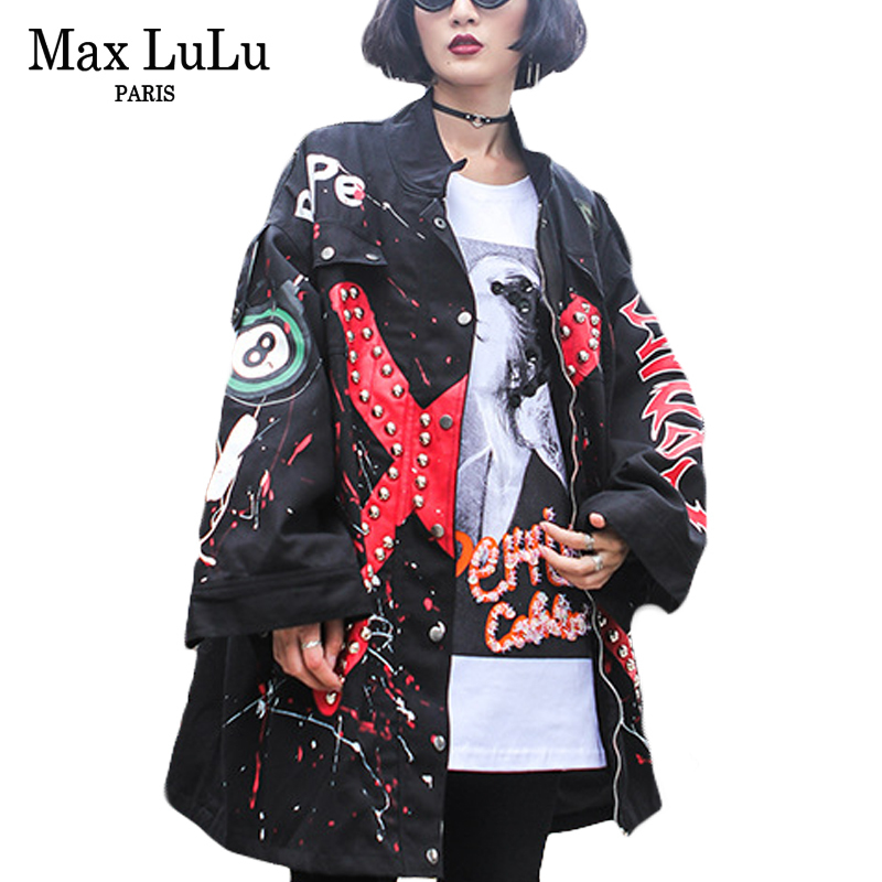 Max LuLu Luxury European Brand Girls Punk Windbreaker Womens Military Denim Jacket Jaqueta Feminina Woman Jeans