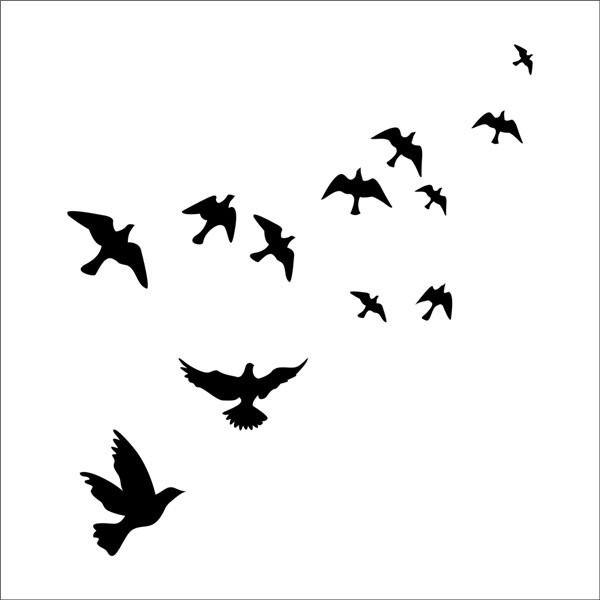 Birds flying feather vinyl wall sticker bedroom home decal