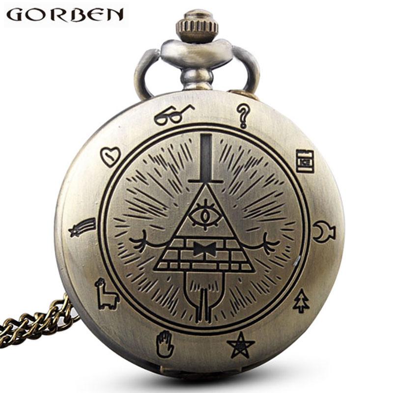 Retro Bronze Freemason Triangle Pattern Quartz Pocket Watch Necklace For Women Men Chain Clock Pendant Gift Boys Children