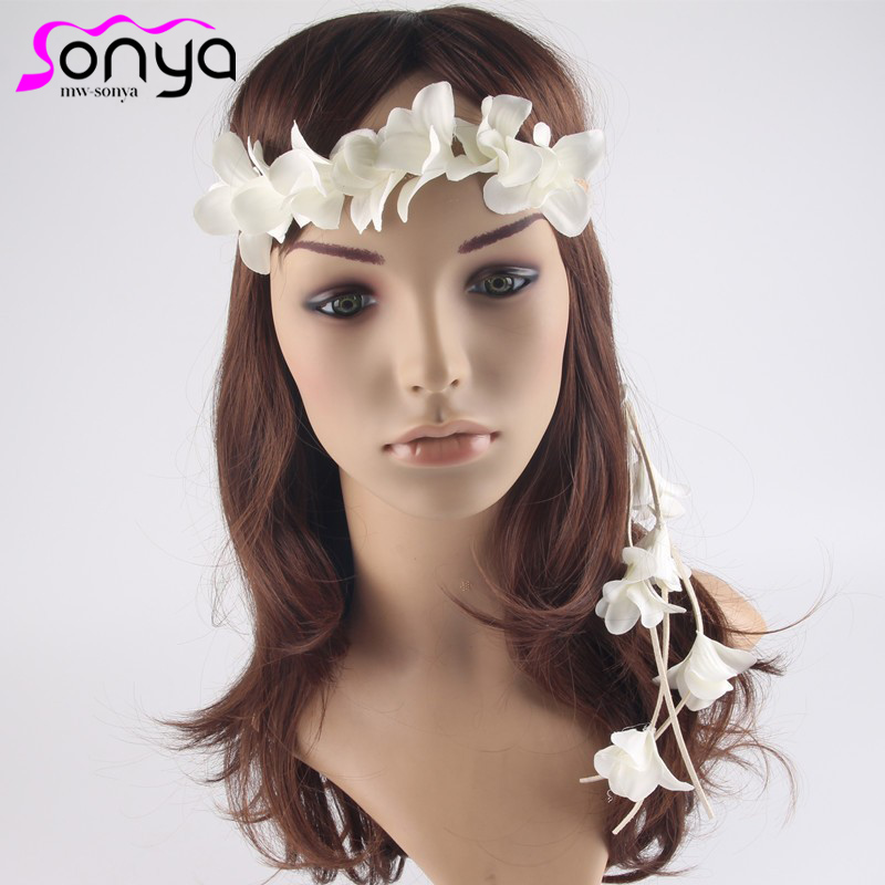 MWsonya Fashion Bridal Floral Headbands Braid Ripe Hairband Flowers Tassel Wedding Hair  ...
