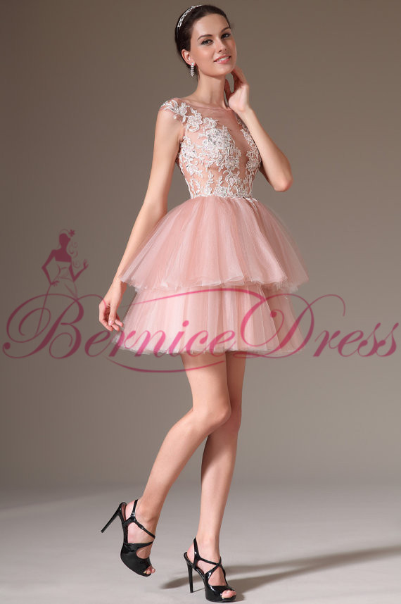2014 Stylish Scoop A Line Mini Light Pink Tulle Applique Cocktail ...