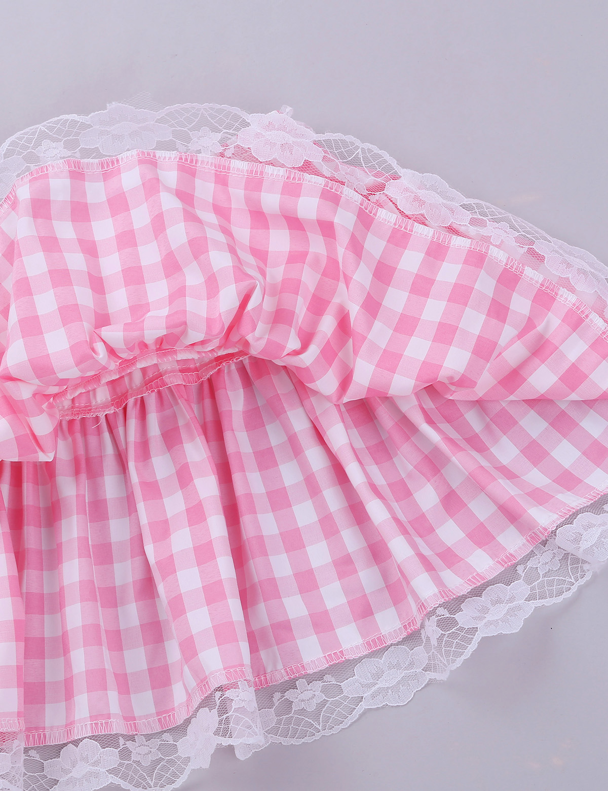 Image 5 - Unisex Men Women A line Mini Skirt  Men Sexy Sissy Skirt Elastic Waistband Short Skirt with Lace Hem Pleated Gingham Roleplay-in Skirts from Women's Clothing