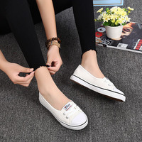 New Shallow Flat Women Sneakers Comfortable Summer Casual Canvas Shoes Breathable Black Slip On Vulcanize Shoes