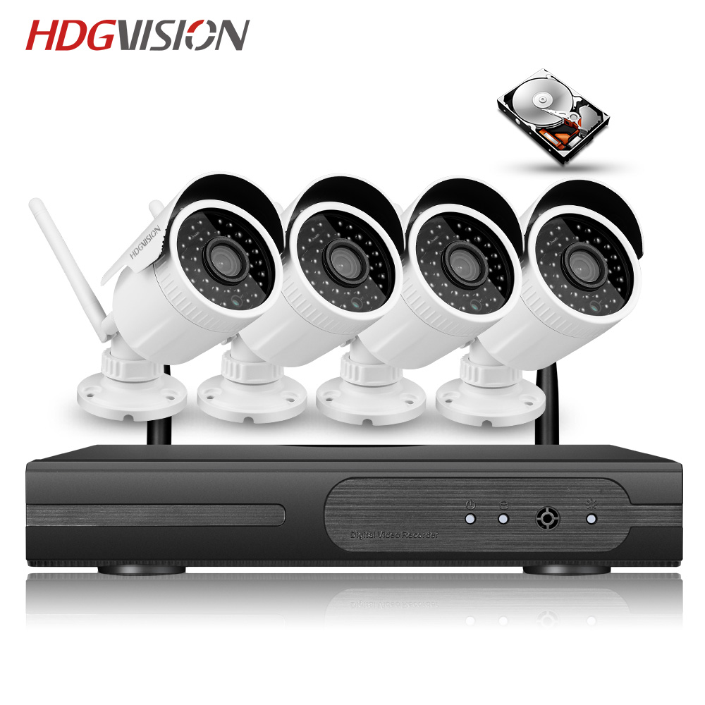 HDGVSION 1080P Powerful Wireless NVR Kit 2.0MP Outdoor Security 4PCS high power 36 leds CCTV Night Vision Waterproof Camera ...