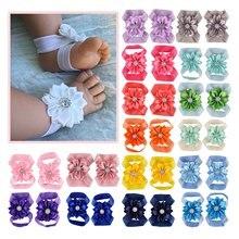 Детские Босиком сандалии с лентой цветок новорожденных сандалии Крещение обувь для маленьких девочек реквизит для фотографий на день рождения обувь новорожденных до 12 м