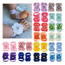 Baby Barefoot Sandals with Ribbon Flower Newborn Sandals Baptism Shoes