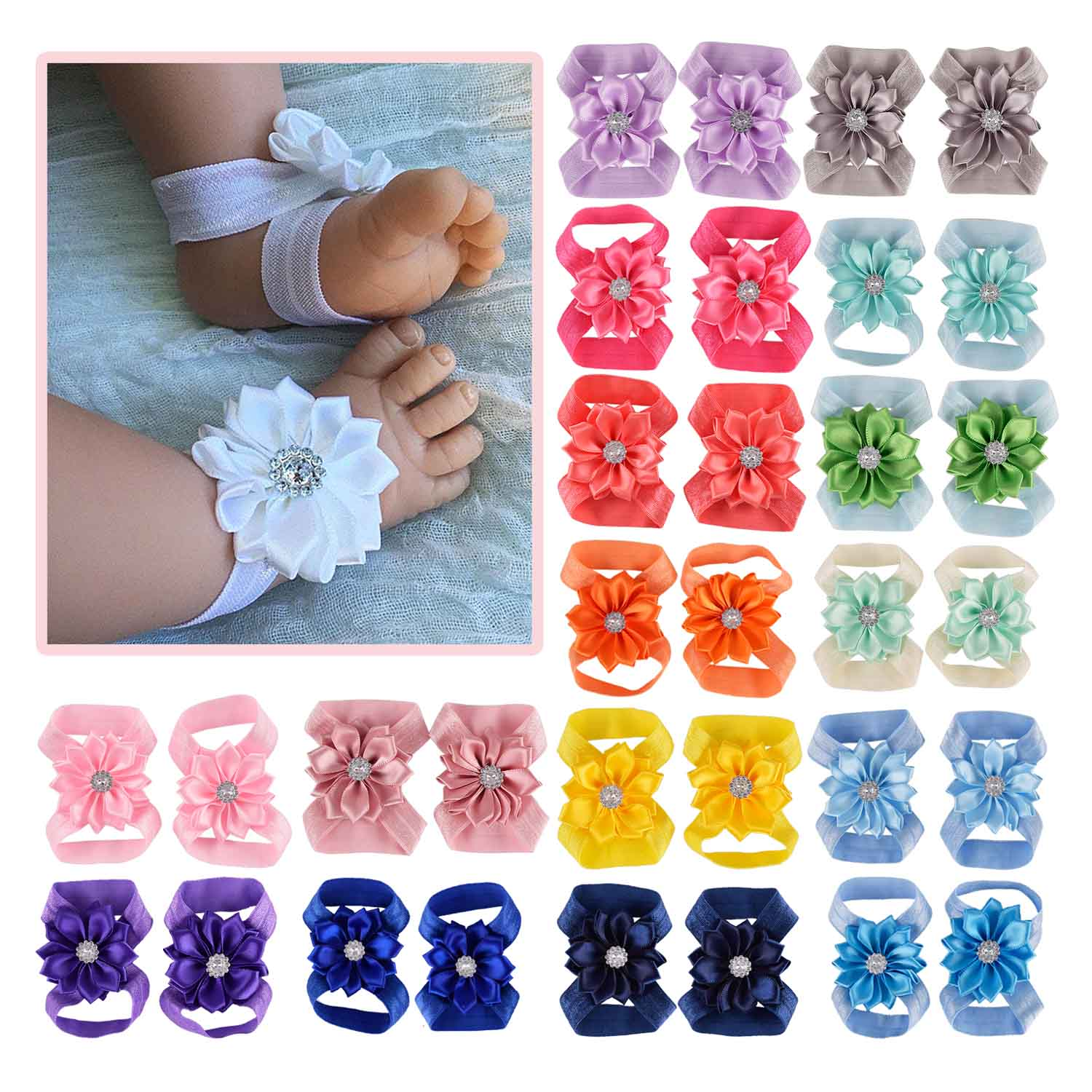 Baby Barefoot Sandals With Ribbon Flower Newborn Sandals Baptism Shoes Baby Girl Shoe Photo Props Birthday Shoes Newborn To 12M
