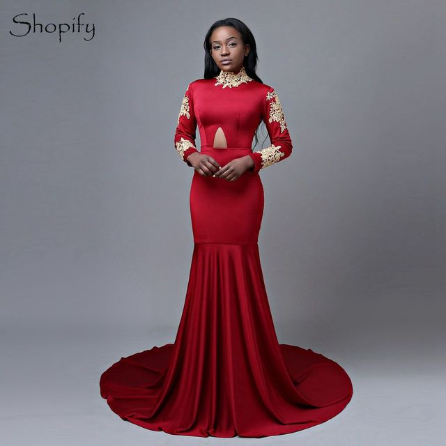 28a4429fdb2 Long Sleeve High Neck Mermaid Style Gold Lace African Red Prom Dresses 2019  With Long Train