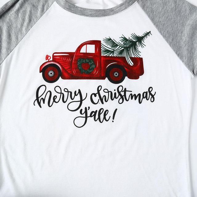 VIN Beauty Fashion 2018 Plus Size Women T Shirt Merry Christmas Y'all Baseball Tees Half Raglan Sleeve O-Neck White Casual Top 2