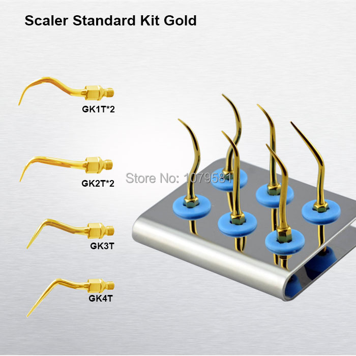 1 set KASKG Scaler Standard Kit Gold for dental air scaler tips kit with dentist and patients personal dentist tool set